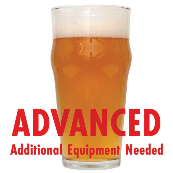 "Glass filled with Extra Special Bitter homebrew with a customer caution in red text: ""Advanced, additional equipment needed"" to brew this recipe kit"