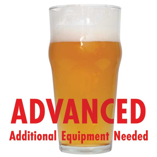 "Tall glass of Azacca Single-Hop Pale Ale with a customer caution in red text: ""Advanced, additional equipment needed"" to brew this recipe kit"