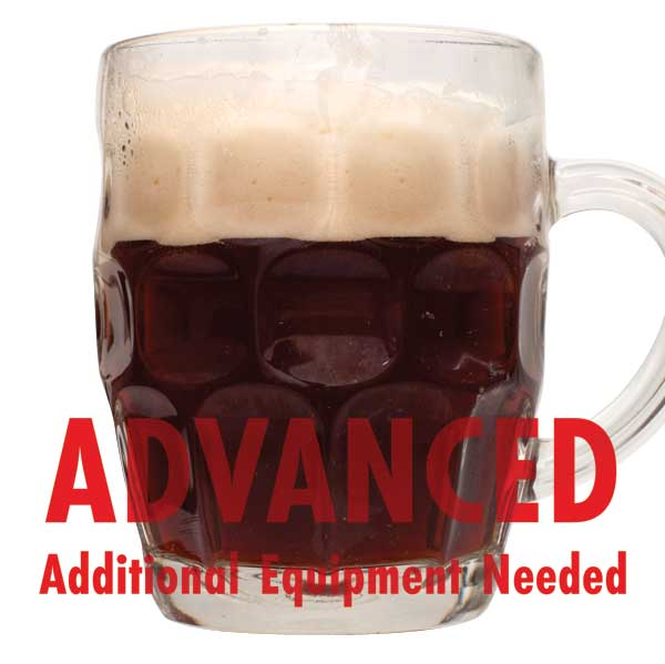 "Winter Warmer homebrew in a stout glass with a customer caution in red text: ""Advanced, additional equipment needed"" to brew this recipe kit"