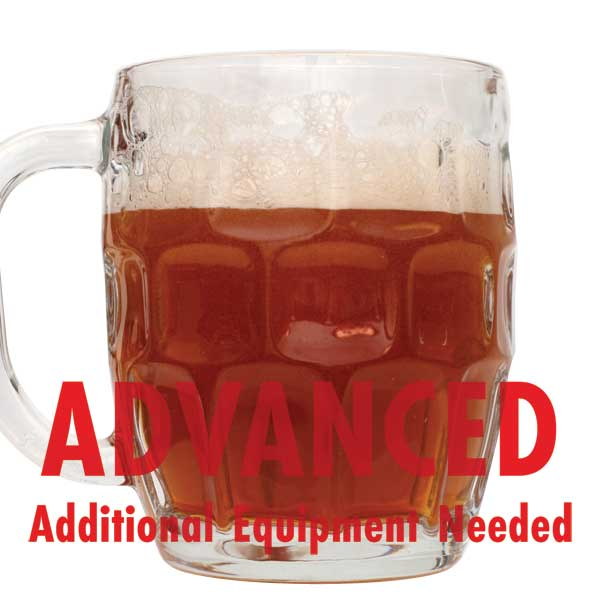 "Oktoberfest homebrew in a drinking glass with a customer caution in red text: ""Advanced, additional equipment needed"" to brew this recipe kit"