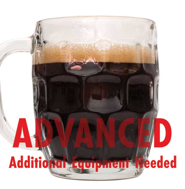 "Dark Cherry Stout in a stout mug with a customer caution in red text: ""Advanced, additional equipment needed"" to brew this recipe kit"