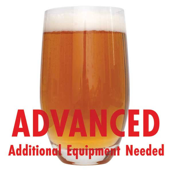 "Dead Ringer IPA in a glass with a customer caution in red text: ""Advanced, additional equipment needed"" to brew this recipe kit"