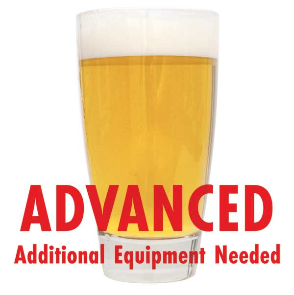 "Lefse Blonde in a glass with a customer caution in red text: ""Advanced, additional equipment needed"" to brew this recipe kit"