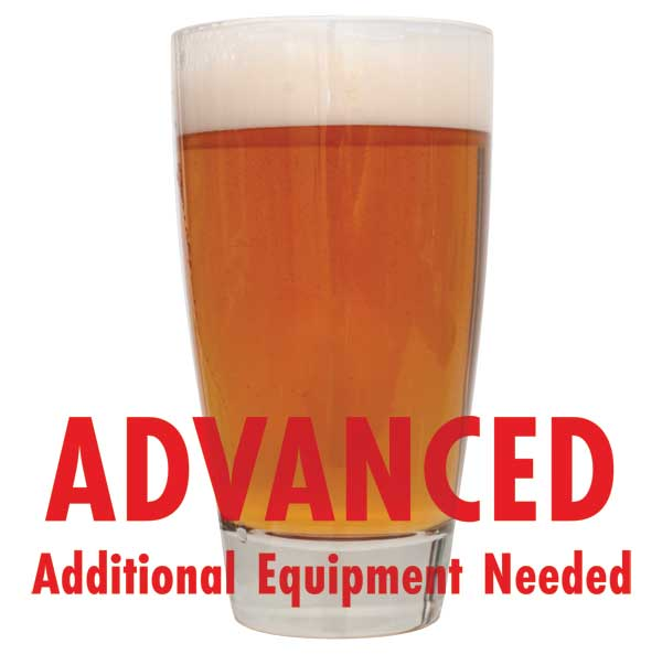 "Zombie Dirt Pale Ale homebrew in a glass with a customer caution in red text: ""Advanced, additional equipment needed"" to brew this recipe kit"