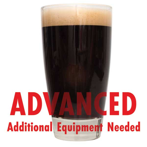 "Sweet Stout homebrew in a drinking glass with a customer caution in red text: ""Advanced, additional equipment needed"" to brew this recipe kit"