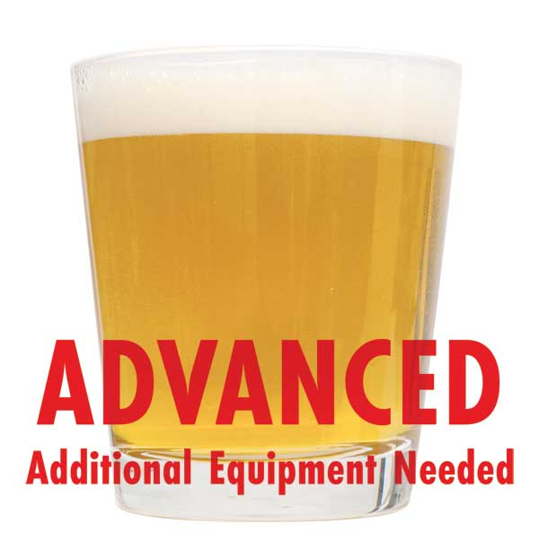"Cream ale homebrew in a stout glass with a customer caution in red text: ""Advanced, additional equipment needed"" to brew this recipe kit"