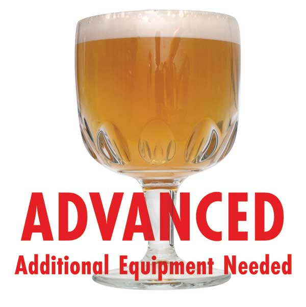 "Belgian Tripel homebrew in a goblet with a customer caution in red text: ""Advanced, additional equipment needed"" to brew this recipe kit"