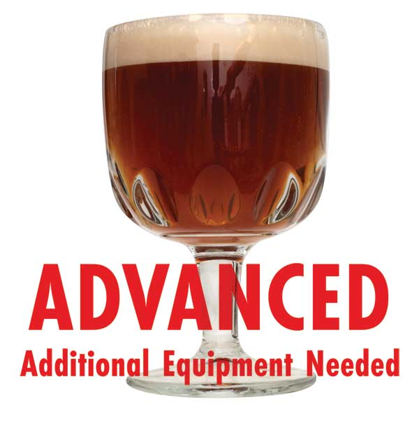 "Belgian Dubbel All Grain homebrew in a glass with a customer caution in red text: ""Advanced, additional equipment needed"" to brew this recipe kit"