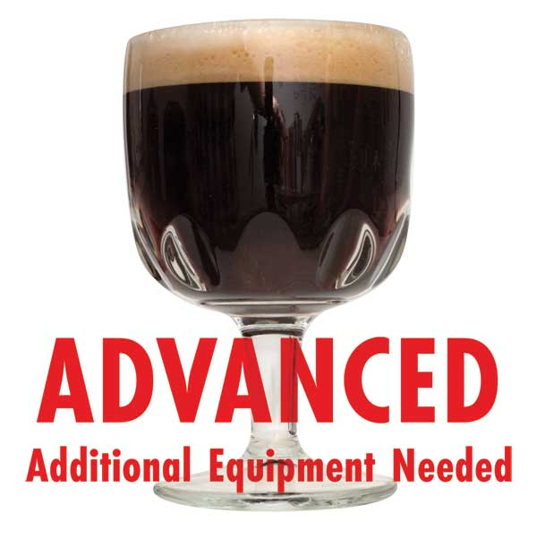 "Northy 12 Belgian Quad homebrew in a goblet with a customer caution in red text: ""Advanced, additional equipment needed"" to brew this recipe kit"