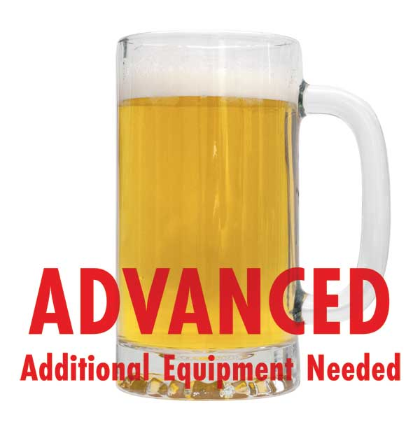 "American Wheat Beer in a mug with a customer caution in red text: ""Advanced, additional equipment needed"" to brew this recipe kit"