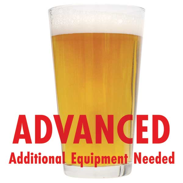 "Empire Builder Imperial Cream Ale in a glass with a customer caution in red text: ""Advanced, additional equipment needed"" to brew this recipe kit"