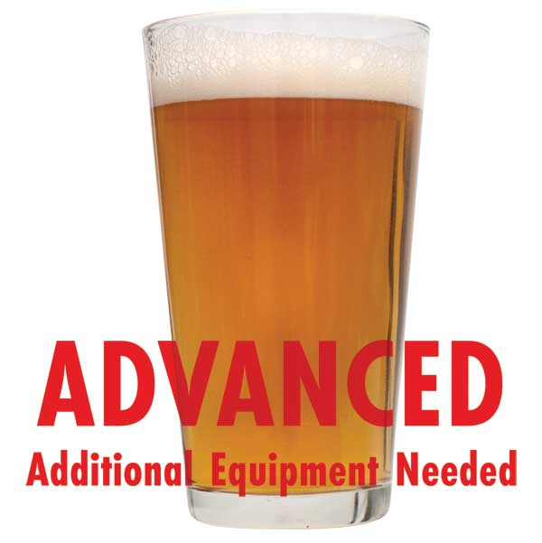 "Extra Pale Ale homebrew in a glass with a customer caution in red text: ""Advanced, additional equipment needed"" to brew this recipe kit"