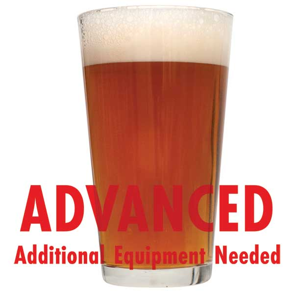 "West Coast Radical Red Ale in a pint glass with a customer caution in red text: ""Advanced, additional equipment needed"" to brew this recipe kit"