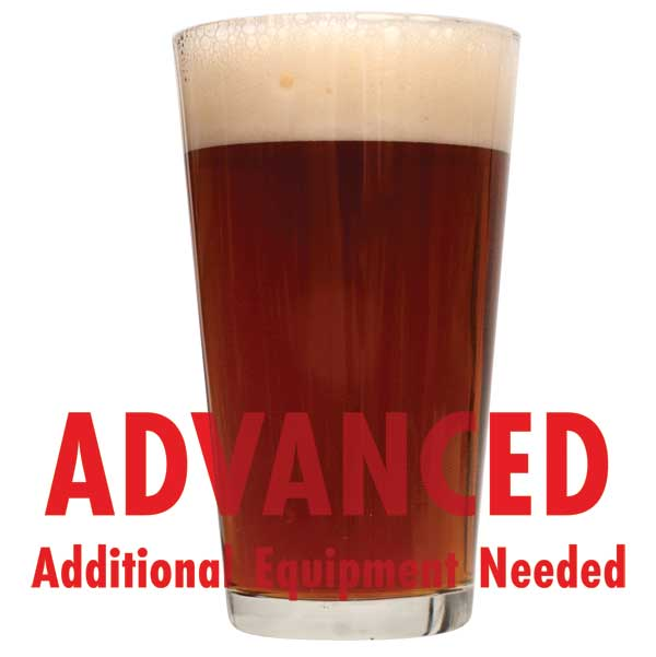 "Nut Brown Ale in a drinking glass with a customer caution in red text: ""Advanced, additional equipment needed"" to brew this recipe kit"
