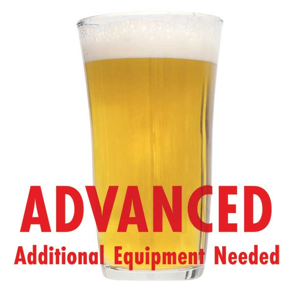 "Patersbier Ale in a drinking glass with a customer caution in red text: ""Advanced, additional equipment needed"" to brew this recipe kit"