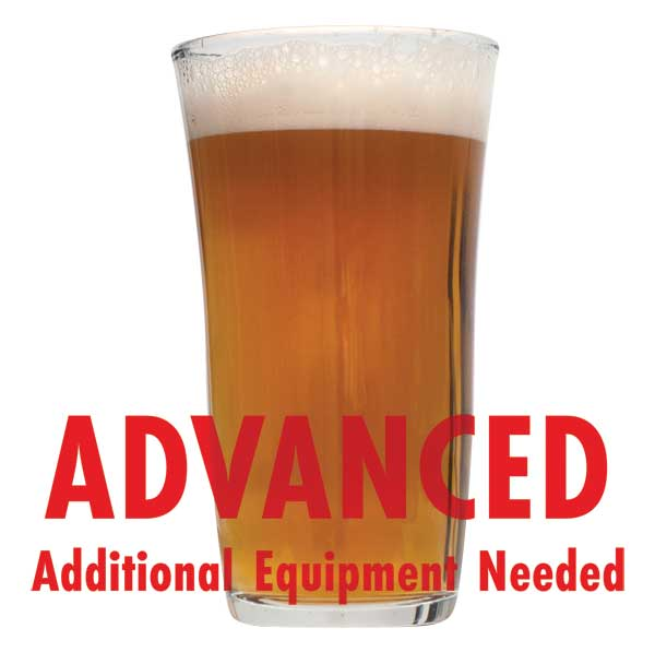 "Tombstone Pale Ale in a drinking glass with a customer caution in red text: ""Advanced, additional equipment needed"" to brew this recipe kit"