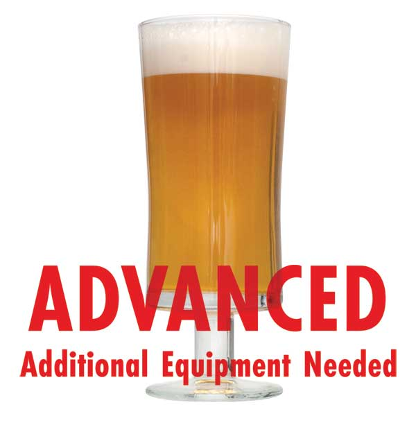 "The Plinian Legacy Double IPA homebrew in a drinking glass with a customer caution in red text: ""Advanced, additional equipment needed"" to brew this recipe kit"