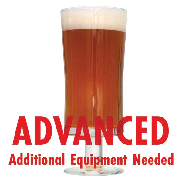 "La Petite Orange in a drinking glass with a customer caution in red text: ""Advanced, additional equipment needed"" to brew this recipe kit"