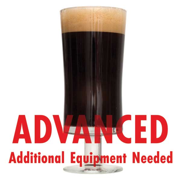 "Chocolate Milk Stout in a drinking glass with a customer caution in red text: ""Advanced, additional equipment needed"" to brew this recipe kit"
