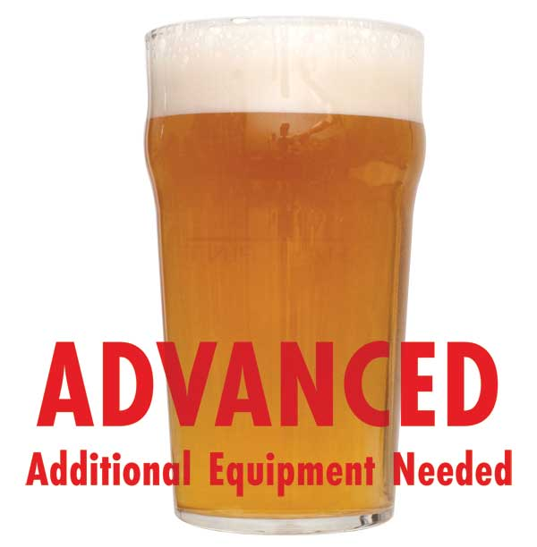 "Fresh Squished IPA homebrew in a glass with a customer caution in red text: ""Advanced, additional equipment needed"" to brew this recipe kit"