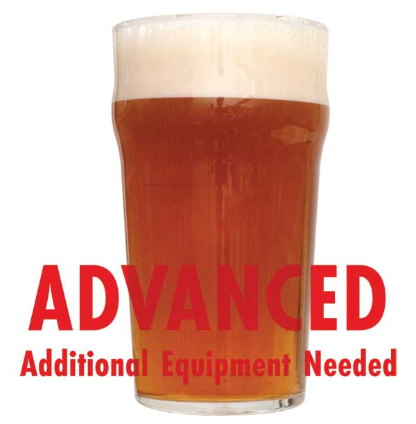"RyePA homebrew in a drinking glass with a customer caution in red text: ""Advanced, additional equipment needed"" to brew this recipe kit"