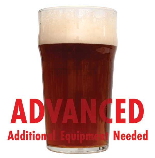 "Jamil's Evil Twin IPA in a drinking glass with a customer caution in red text: ""Advanced, additional equipment needed"" to brew this recipe kit"