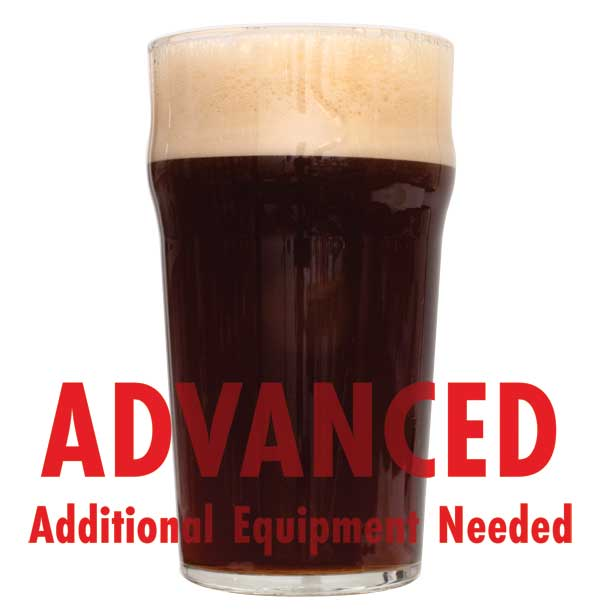 "Glass filled with Dry Irish Stout with a customer caution in red text: ""Advanced, additional equipment needed"" to brew this recipe kit"
