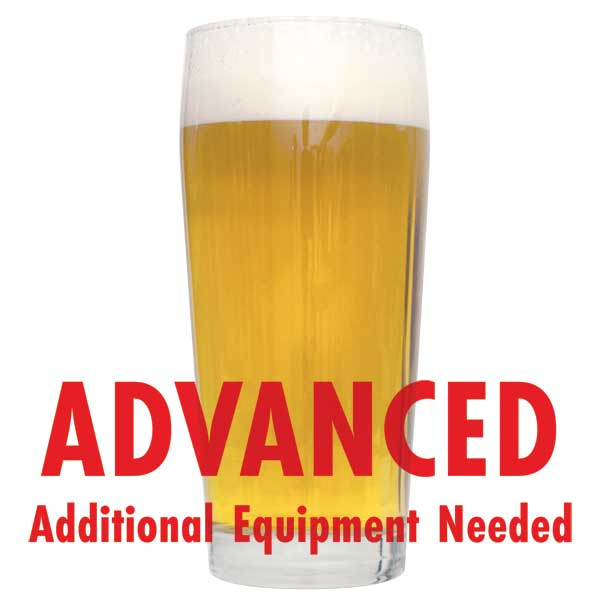 "Gaarden Hoe Witbier in a glass with a customer caution in red text: ""Advanced, additional equipment needed"" to brew this recipe kit"