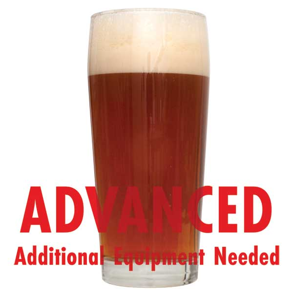 "Brickwarmer Holiday Red All Grain homebrew in a glass with a customer caution in red text: ""Advanced, additional equipment needed"" to brew this recipe kit"
