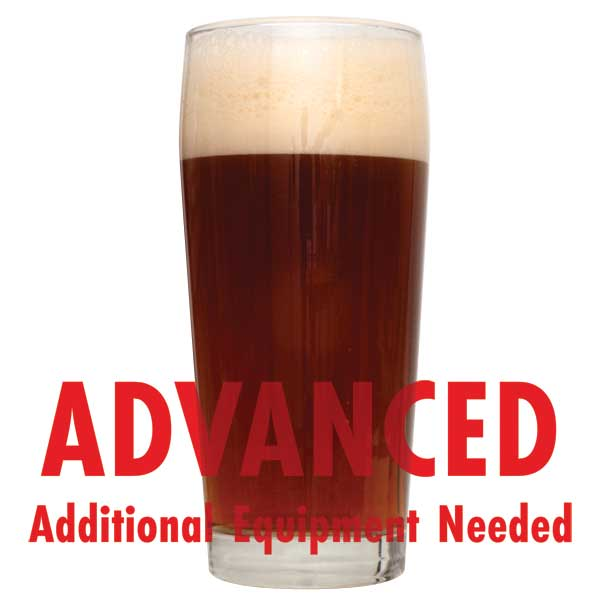 "Glass filled with Karl's Ninety 90 Shilling homebrew with a customer caution in red text: ""Advanced, additional equipment needed"" to brew this recipe kit"