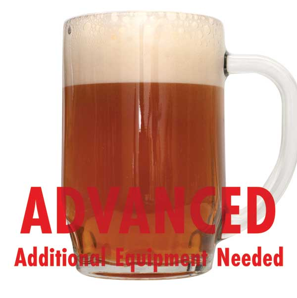 "Phat Tyre Amber Ale in a mug with a customer caution in red text: ""Advanced, additional equipment needed"" to brew this recipe kit"