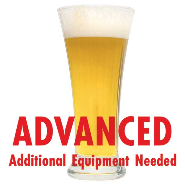"Witbier in a tall glass with a customer caution in red text: ""Advanced, additional equipment needed"" to brew this recipe kit"