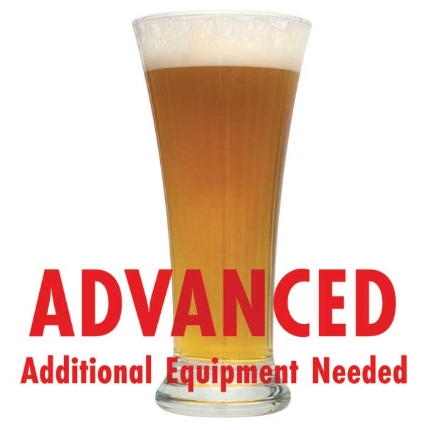 "Ginger Snap Saison homebrew in a glass with a customer caution in red text: ""Advanced, additional equipment needed"" to brew this recipe kit"