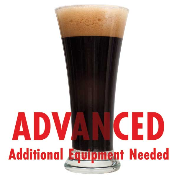 "Black IPA homebrew in a glass with a customer caution in red text: ""Advanced, additional equipment needed"" to brew this recipe kit"