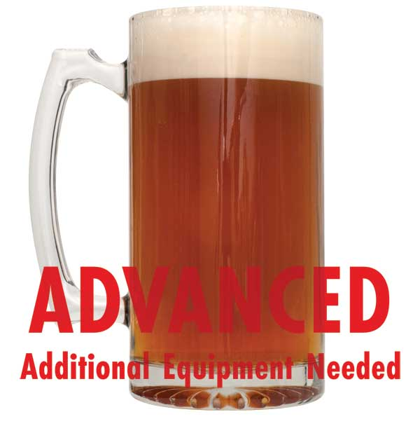 "German Alt in a mug with a customer caution in red text: ""Advanced, additional equipment needed"" to brew this recipe kit"