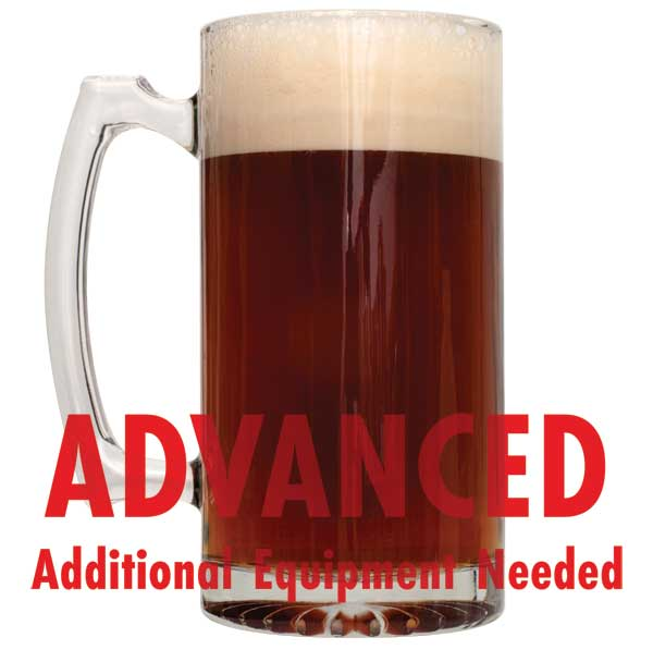 "Caribou Slobber Brown Ale homebrew in a mug with a customer caution in red text: ""Advanced, additional equipment needed"" to brew this recipe kit"