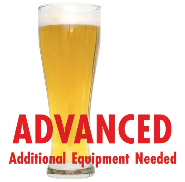 "Honey Weizen in a drinking glass with a customer caution in red text: ""Advanced, additional equipment needed"" to brew this recipe kit"