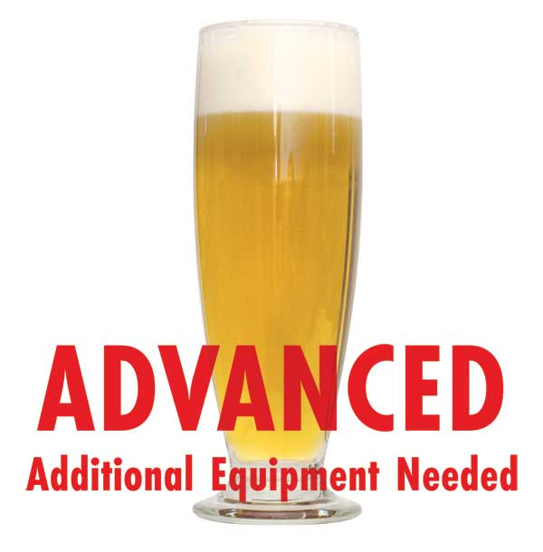 "Petite Saison d'Ete in a tall glass with a customer caution in red text: ""Advanced, additional equipment needed"" to brew this recipe kit"