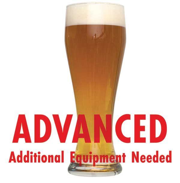 "Raspberry Wheat in a glass with a customer caution in red text: ""Advanced, additional equipment needed"" to brew this recipe kit"