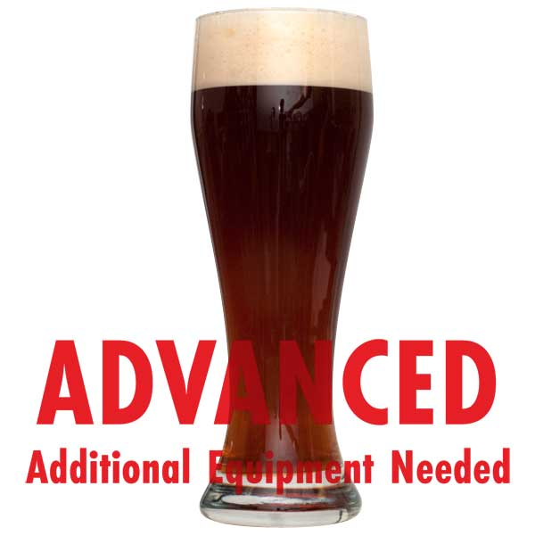"Dunkelweizen Wheat in a glass with a customer caution in red text: ""Advanced, additional equipment needed"" to brew this recipe kit"