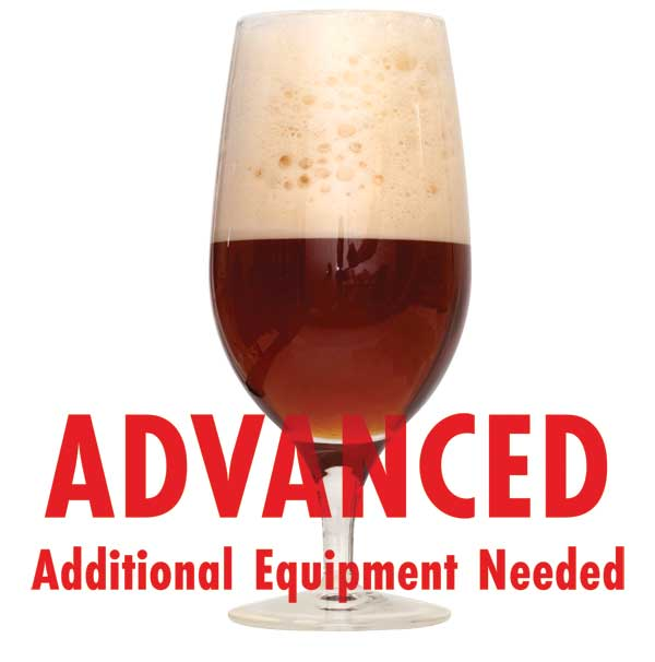 "Spiced Winter Ale in a drinking glass with a customer caution in red text: ""Advanced, additional equipment needed"" to brew this recipe kit"