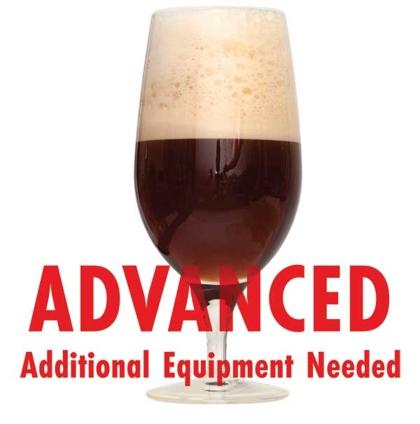 "Saison de Noel in a glass with a customer caution in red text: ""Advanced, additional equipment needed"" to brew this recipe kit"