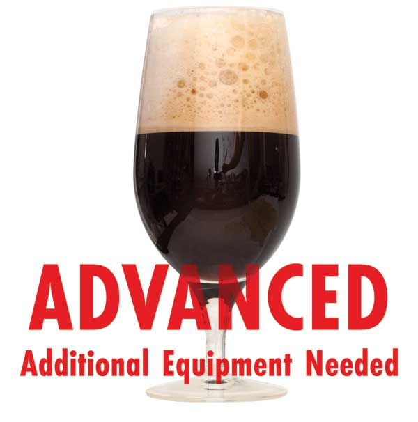 "Brunch Stout homebrew in a glass with a customer caution in red text: ""Advanced, additional equipment needed"" to brew this recipe kit"