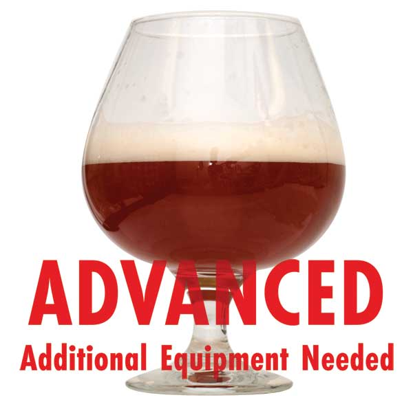 "Barley Wine homebrew in a glass with a customer caution in red text: ""Advanced, additional equipment needed"" to brew this recipe kit"
