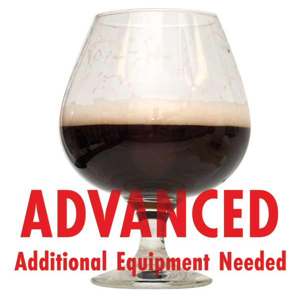 "Bourbon Barrel Porter homebrew in a glass with a customer caution in red text: ""Advanced, additional equipment needed"" to brew this recipe kit"