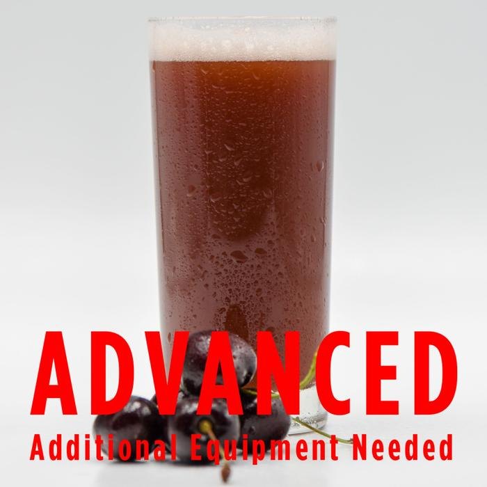 "Funktional Fruit Sour Cherry homebrew in a glass with an All-Grain caution in red text: ""Advanced, additional equipment needed"" Sour Cherry Funktional Fruit Sour All Grain Recipe"