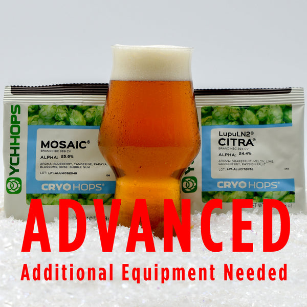 "Arctic Slush Session IPA All Grain homebrew in front of mosaic and citra cryo hops with a customer caution in red text: ""Advanced, additional equipment needed"" to brew this recipe kit"
