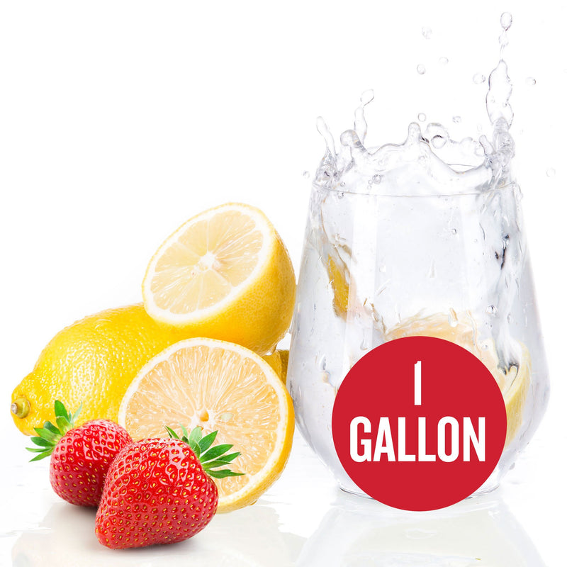 "Lemon Strawberry Hard Seltzer in a glass with a red circle containing the text ""1-gallon"""
