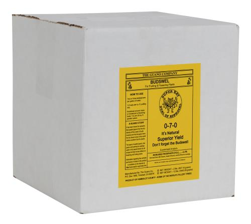 Box of Budswel Organic dry fertilizer