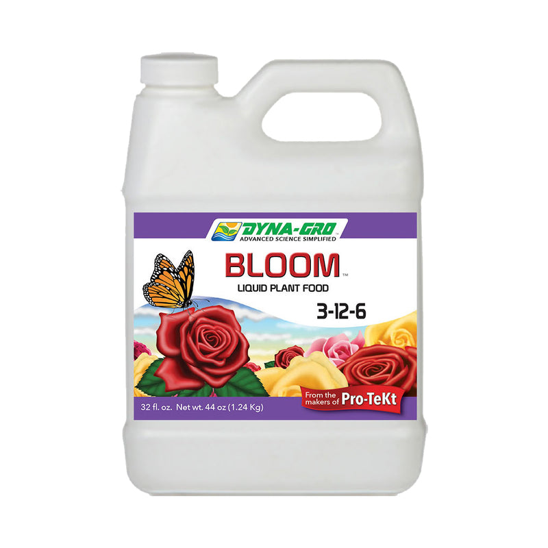 Quart container of dyna-gro bloom